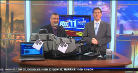 Kickstarter MOS, Magnetic Organization System and Stylish herringbone design bags for tablets and laptops from MobileEdge featured on KMSB Fox 11 with Andy Taylor of TechtalkRadio