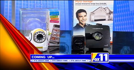 Andy Taylor of TechtalkRadio and Mark Stine from the KMSB Fox 11 Segment featuring products for Home and Garage Monitoring from DXG and Chamberlain