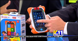 Andy Taylor of TechtalkRadio and Mark Stine from the KMSB Fox 11 Segment featuring the Nabi Jr Nick Jr Edition Tablet for Children