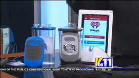 Screen Capture of segment featuring the HDMX Jam Splash Bluetooth Wireless Speaker and Duluth Trading TextPac on KMSB Fox 11 with Andy Taylor of TechtalkRadio from 12/02/2013