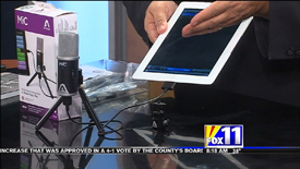 Screen Capture of segment featuring The Apogee Digital Microphone on KMSB Fox 11 with Andy Taylor of TechtalkRadio from 12/30/2013