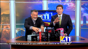 TechtalkRadio's Andy Taylor on Fox 11 Daybreak sharing info on the JVC KWR910BT Stereo Upgrade for the Car, Monster iCarPlay for conecting your smart phone to an older car radio and headphones designed for young sensative ears from iFrogz called