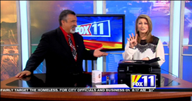 TechtalkRadio's Andy Taylor on Fox 11 Daybreak sharing info on the Brother All In One Printer and Celluon Epic LED Projection Keyboard