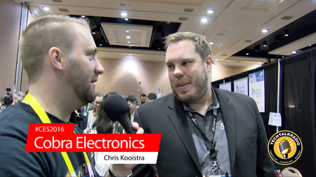 Photo of Justin Lemme of TechtalkRadio talking with Chris Kooistra of Cobra Electronics from CES2016